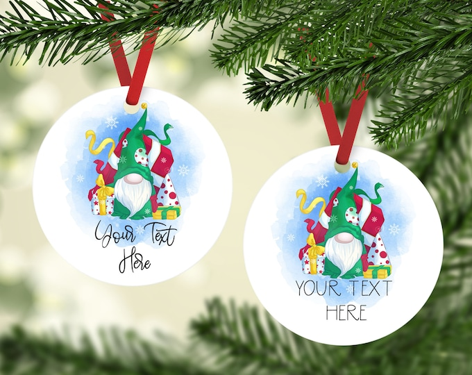 2021 Christmas Ornament, Personalized Gnome Christmas Ornament, Holiday Personalized Ornament,