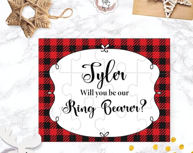 Buffalo Check Ring Bearer Proposal Will You Be My Rig Bearer Puzzle Cute Gift Keepsake Memento Personalized Boy Gift design 118