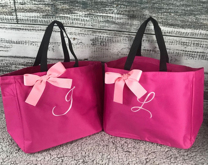 Hot Pink  Tote Bag, Personalized Tote,  Bridesmaid Gift Tote Bag, Wedding Party Gift, Bridal Party Gift, Initial Tote, Mother of te Bride