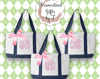 Set of 8 Personalized Bridesmaid Totes, Gift for Mom, Monogrammed Tote Bags, Personalised Totes, 2 Color, Wedding Bag, Bridesmaid Bag