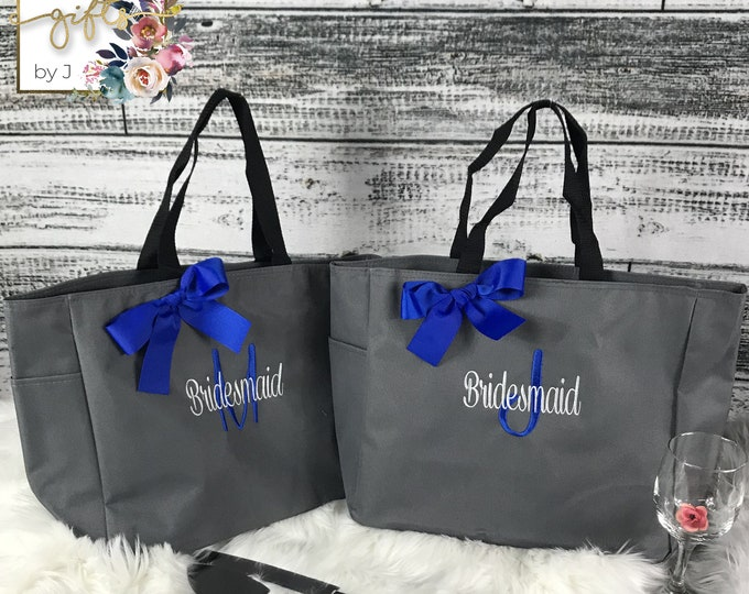 Bridesmaids Gift, Set Of 6, Personalized Tote Bag, Wedding Party Gift, Bridal Party Gift, Monogrammed Tote, Wedding, Day Of Bag (ESS1)