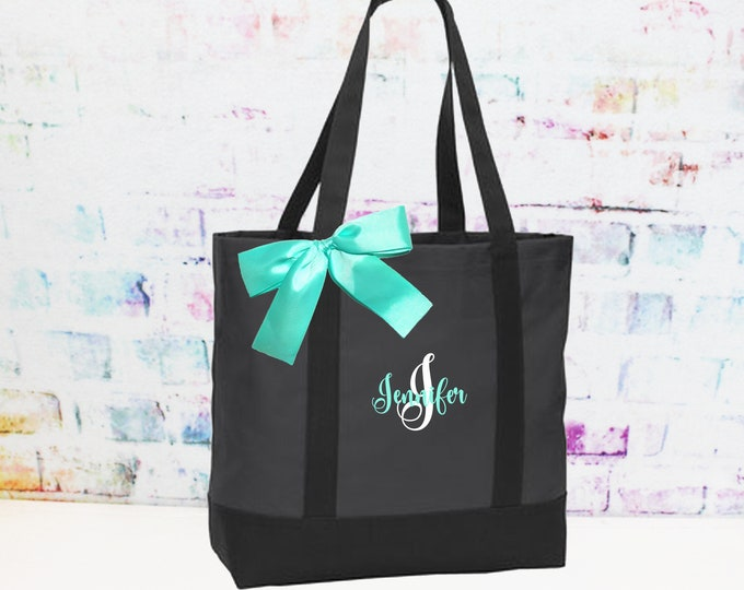 Charcoal and Black Bridesmaid Tote Bag, Personalized Tote, Teacher Bag,  Perfect Custom Gift For Here (NS2T)