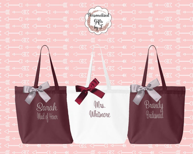 Monogrammed Zippered Tote Bag, Bridesmaids Gifts, Set of 12, Embroidered Tote, Maid of Honor Gift, Name Tote, Mother of the Bride/ Groom