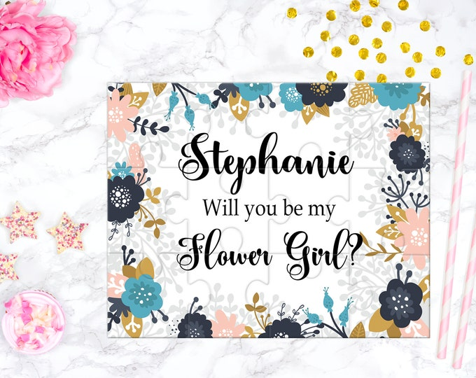 Cute Flower Girl Gift Proposal Will You Be My Flower Girl Puzzle Flower Girl Proposal Keepsake Memento Personalized Girl Gift design 341