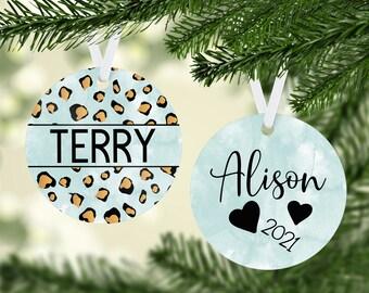 Leopard Print Ornament, Personalized Aqua Watercolor Ornament, Light teal Cute Christmas Ornament, Cute Holiday 2021 Ornament,