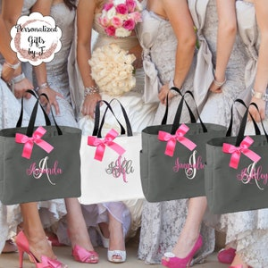 Set of 13 Personalized Bridesmaid Tote Bags ESS1 Bridal Party Gift Initial Tote Wedding Party Gift Mother of the Bride Gift