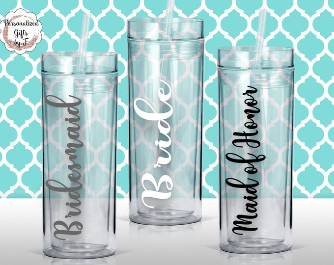 Personalized Bridesmaid Tumblers Glass Set of Personalized Tumbler, Bridesmaid Gift, Bachelorette Party, Bridesmaid Glass Design 102