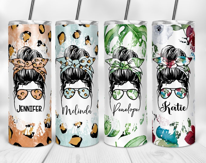 Personalized Tumbler, Mom Gifts, Mom Tumbler, Messy Bun Personalized Tumblers, Bridesmaid Gift, Bachelorette Party, Bridesmaid Glass