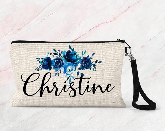 Bridesmaid makeup bag, Personalized bridesmaid gift, Custom cosmetic bag COS31