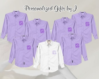 Getting Ready Shirt, Wedding, Monogrammed, Button Down, Bridesmaid Shirt, Bridal Party Shirt, Personalized, Oversized, Bridesmaids Gift