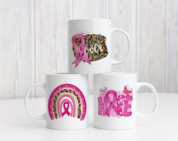 Breast Cancer Awareness Mug, Personalized Gift, Breast Cancer Coffee Cup