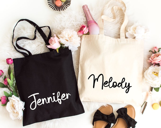 Personalized Tote Bag, Bridesmaid Gift Bag, Bachelorette Favor Bag, Gift for her, Bestfriend Gift, Sister gift bag,  Light Weight Canvas Bag