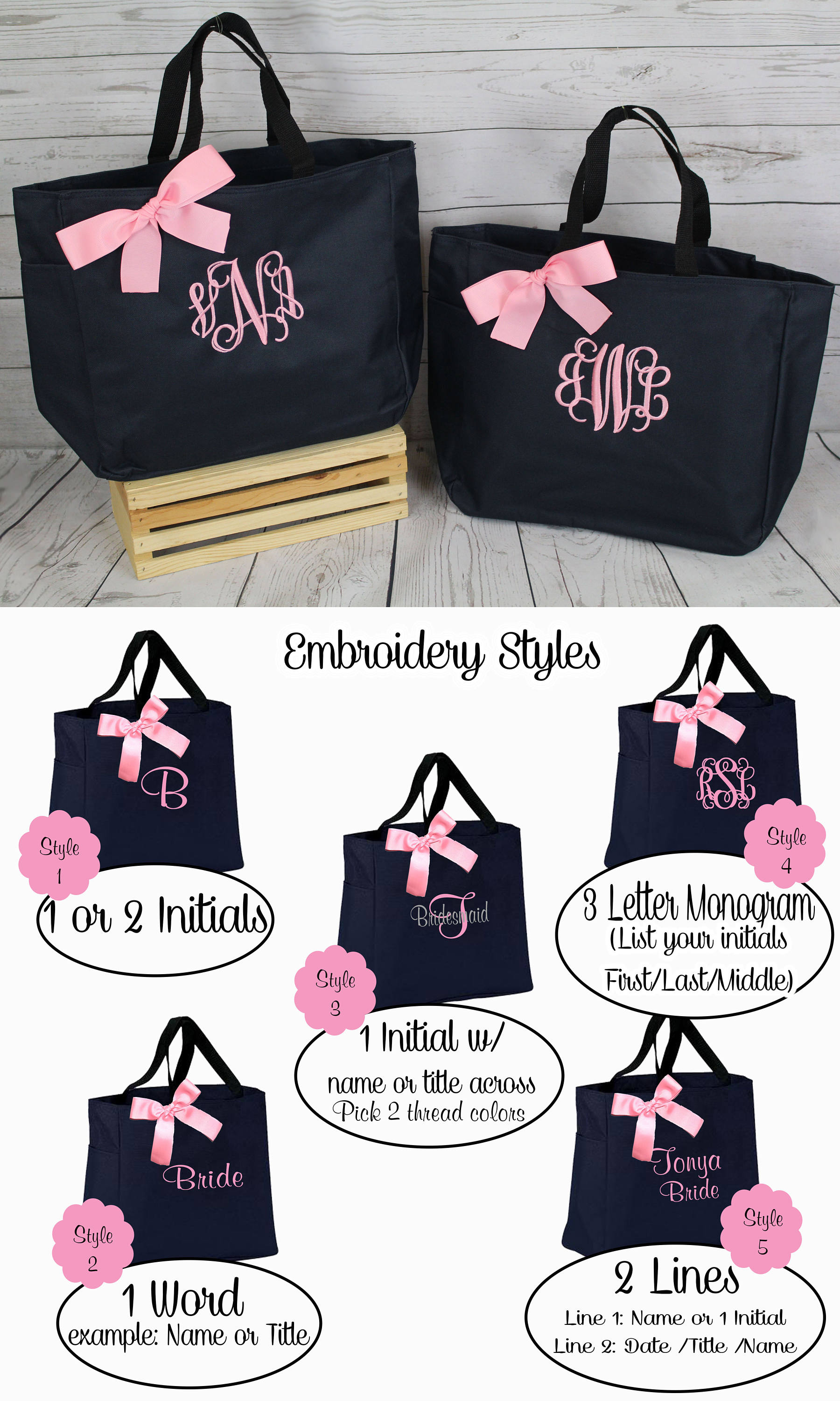 7 personalized wedding tote bridesmaid gift tote bags embroidered