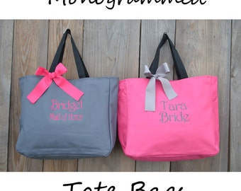 3 Monogrammed Totes, Monogrammed Bridesmaid Gift, Personalized Tote Bag, Mother of the Bride Gift Tote, Maid Of Honor Gift