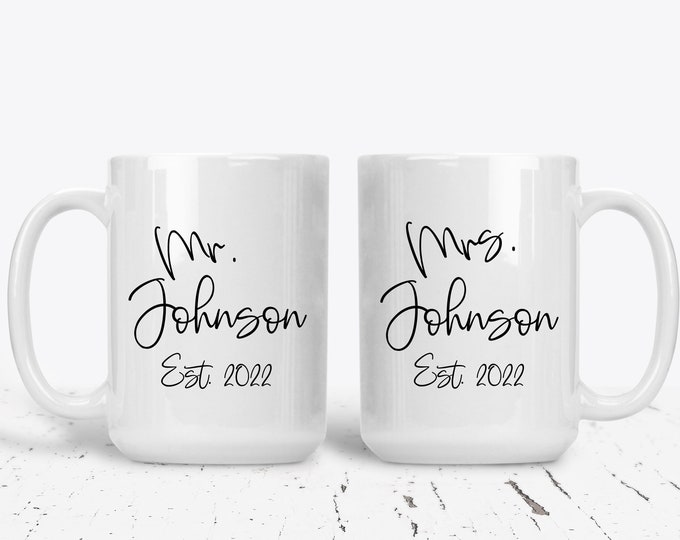Mr and Mrs Mug Set, Gift for Couple,  Bride and Groom Mug, Established Couples Gift, Custom Personalized,Wedding Gift Ideas,