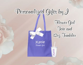 2 Flower Girl Gifts Tote and Tumbler, Jr Bridesmaid Gift, Wedding Tote and Tumbler Set, Personalized Tote and Tumbler, 12 oz Tumbler