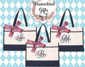 5 Monogrammed Tote Bag Monogrammed Tote Bridesmaid Tote Personalized Tote Wedding Teacher Gift Sister Gift Sorority Gift Set