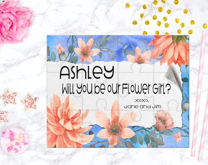 Flower Girl Proposal Flower Girl Gift  Blue and Orange Floral Cute Gift Keepsake Memento Personalized Flower Girl Gift design 349