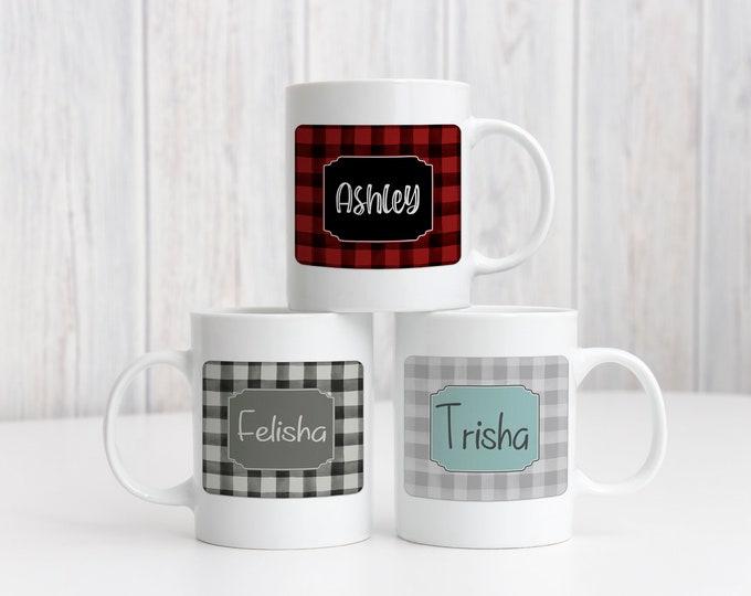 Buffalo Check Personalized Mug, Personalized Christmas Gift