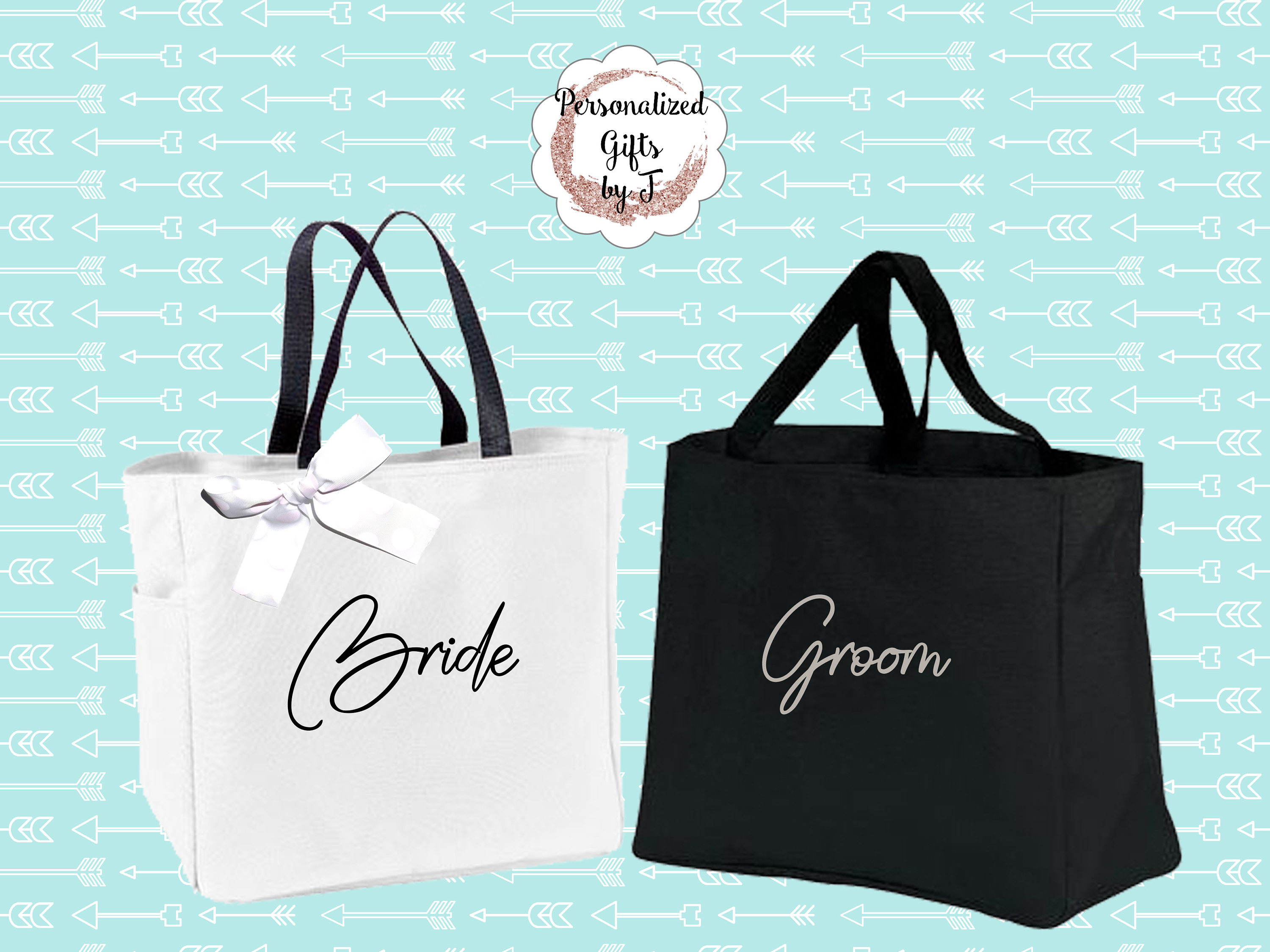 Set Of 2 Bride And Groom Gift Tote Bags Wedding Totes Day Of