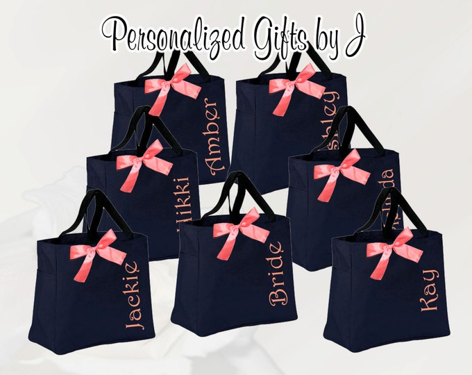 Personalized Bridesmaid Gift, Tote Bag, Monogrammed Tote, Bridesmaids Tote, Personalized Tote, Wedding Totes, Personalised Tote Bags