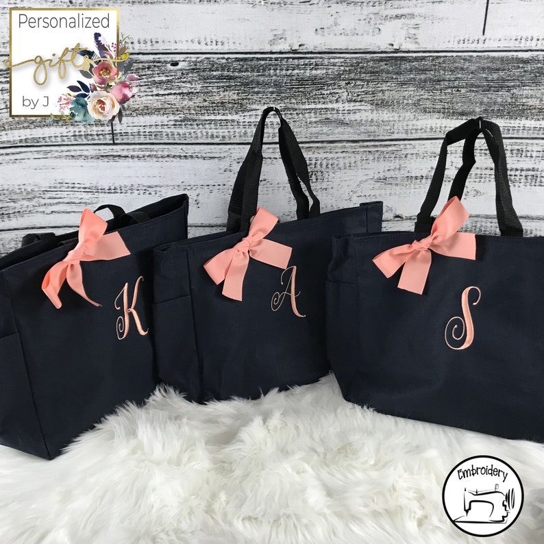 5 Personalized Tote Bags Bridesmaid Gifts Set of 5 image 0