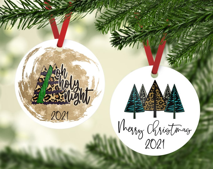 Rustic Oh Holy Night 2021 Ornament, Cute Merry Christmas Ornament, Cute Holiday 2021 Ornament,