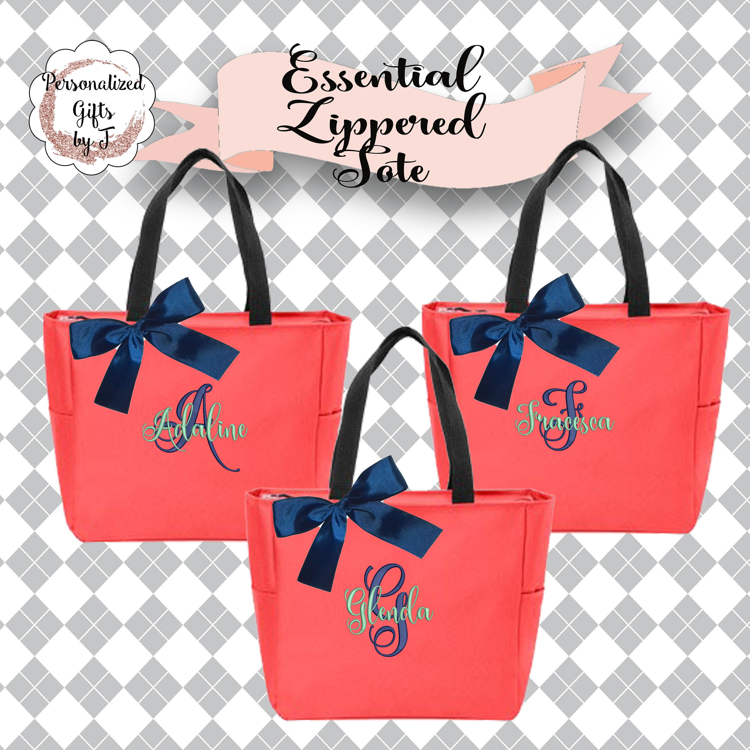 2 Personalized Bridesmaid Tote Bags Wedding Gift Coral Zippered