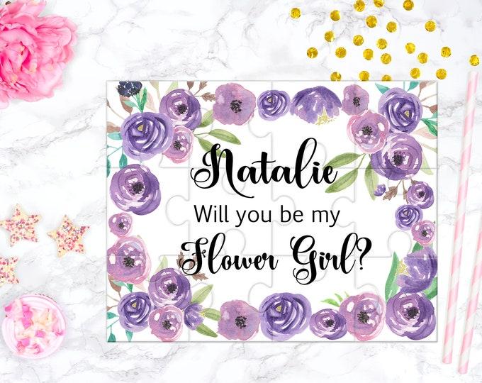 Flower Girl Proposal Puzzle, Flower Girl Gift, Flower Girl Favor Design purple 1