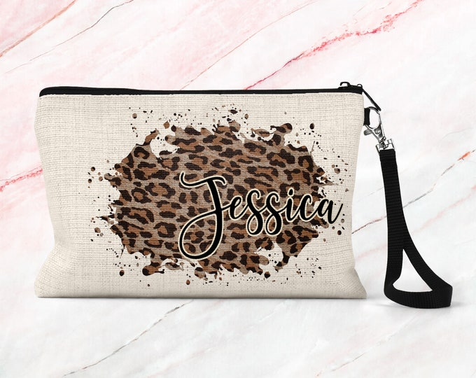 Personalized Leopard Print Makeup Bag, Bridesmaid Gift, Linen Makeup Pouch, Cosmetic Case COSLEO1