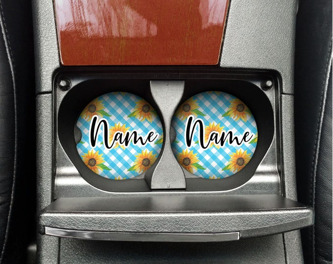 Personalized car coaster, Aqua and flower car Accessories, Stocking Stuffer gift for teen