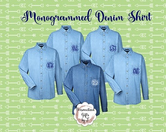 3 Monogrammed Denim Shirts, Bridesmaids Shirt, Personalized Button Down Shirt, Bridesmaids Gift, Bridal Party Gifts, Embroidered