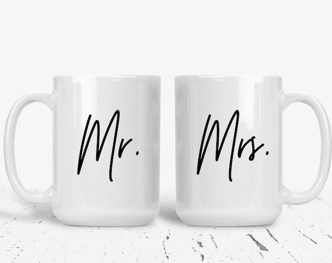Mr and Mrs Mug Set Gift for Couple Bride and Groom Anniversary Couples Custom Personalized Bridal Shower Wedding Gift Ideas, Bride Mug Groom