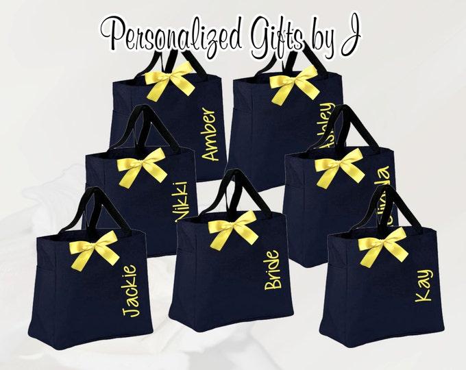 12 Bridesmaid Tote Bags, Personalized Bridesmaid Gift Tote Bags- Bridesmaid Gift Tote - Wedding Party Gift - Yellow Name Tote-