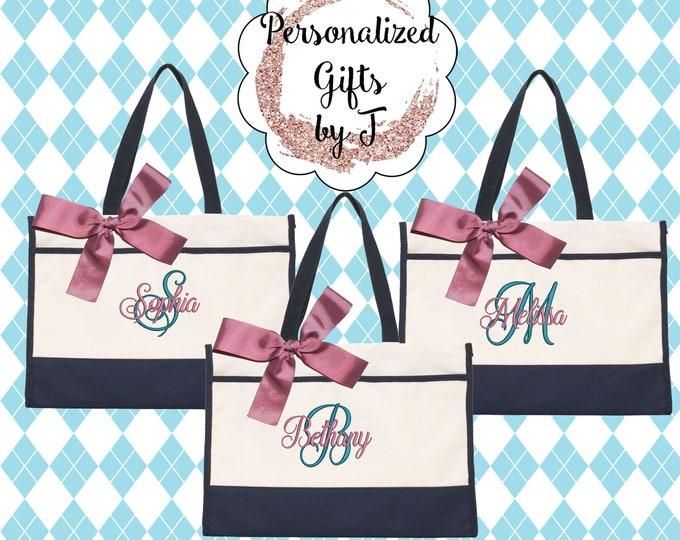 6 Bridesmaid Gifts Monogrammed Tote Bag Monogrammed Tote, Bridesmaid Tote, Personalized Tote Wedding