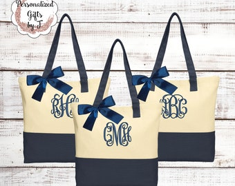 Set of 6 Bridesmaid Tote Bag Monogrammed Totes Bridesmaid Gift Tote Bags Embroidered Tote Personalized Tote Bridal Party Mom Gift for her