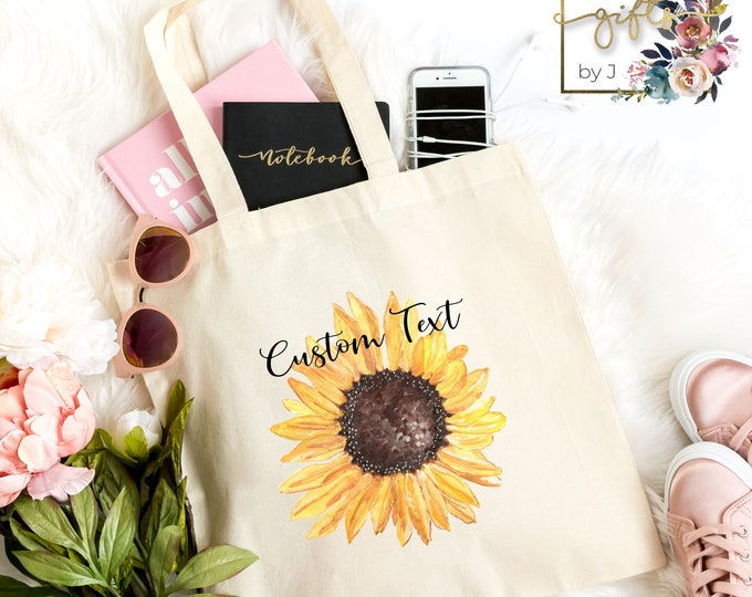 Personalized Tote Bag, Sunflower Canvas Bag, Bridesmaid Gift, Light Weight Cotton Canvas Tote