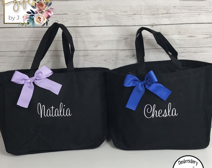 Set of 5, Bridesmaid Gift, Personalized Tote Bag, Embroidered Tote, Bridesmaids Bag, Monogrammed Tote (ESS1)