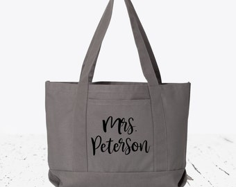 Canvas Tote Bag, Bridesmaid Tote Bag, Teacher Gift, Gift for her, Sister Gifts, Teen Gift, Monogrammed Tote, Personalized Bridesmaid Gifts