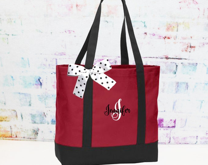 Red and Black Personalized Tote Bag, Bridesmaid Tote, Teacher Bag,  Perfect Custom Gift For Her (NS2T)