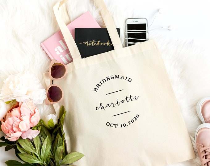 Bridesmaid Tote Bag, Bridal Party Favors, Will you be my Bridesmaid Proposal,  Light Weight Cotton Canvas Tote