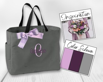 Personalized Bridesmaid Gift Tote Bags,Bridal Party Favors Tote, Monogrammed Tote, Bridal Party Gift, Cheer Bag, Dance Tote (ESS1)