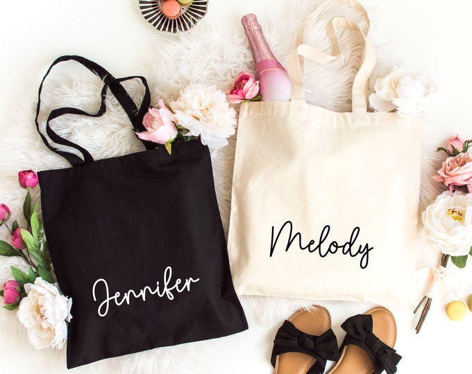 Custom Tote Bag, Custom canvas bags, Custom Name Tote Bag, Personalized Totes, Custom Wedding Totes, Bridesmaid Bag, Light Weight Canvas bag