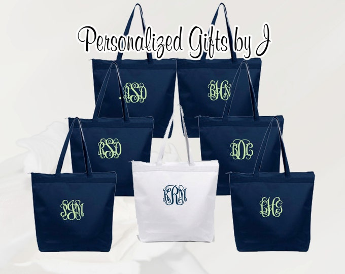 9 Personalized Zippered Tote Bags, Bridesmaid Gift Set of 9- Wedding Party Gift- Bridal Party Gift- Initial Tote- Mother of the Bride Gift