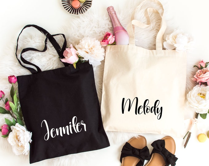 Personalized Tote Bag, Party Favor Bag, Gifts Bag with Names, Printed Canvas Tote Bag,  Light Weight Cotton Canvas Tote