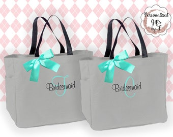 Bridesmaids Gift, Set Of 6, Personalized Tote Bag, Wedding Party Gift, Bridal Party Gift, Monogrammed Tote, Wedding, Day Of Bag