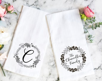 Personalized Kitchen Towel, New Home Gift, Hostess Gift, Personalized Christmas Gift