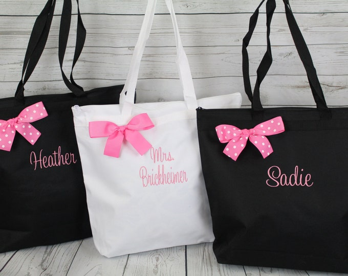 8 Bridesmaid Tote Set, Gift Personalized Zippered Tote Bag Monogrammed Tote, Bridesmaid Tote, Personalized Tote Wedding