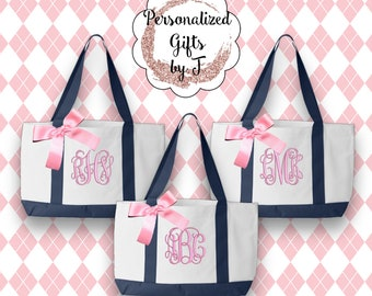 4 Personalized Monogrammed Bridesmaid Tote Bags, 2- Color, Bridesmaids Gifts, Wedding Bags, Personlised Tote, Maid of Honor Gift, Wedding