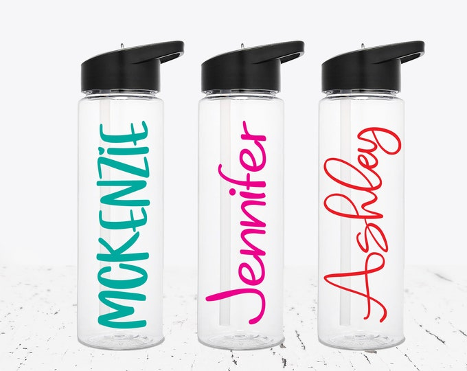 Personalized Water Bottle with Straw - 24 oz. Custom Water Bottle with Straw - Flip Top Lid - Flip Up Straw- Clear Water Bottle -bridesmaid